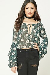 Forever 21 Floral Print Crop Top Green Beige