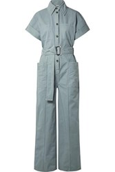 Acne Studios Phyllis Cotton Twill Jumpsuit Gray Green