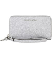 Michael Michael Kors Alex Glitter Multi Function Phone Wallet Silver