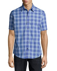 Zachary Prell Plaid Woven Short Sleeve Shirt Blue