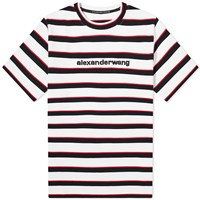 Alexander Wang Striped Logo Tee White