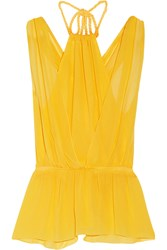 M Missoni Silk Chiffon Halterneck Top Yellow