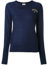 Sonia Rykiel By Embroidered T Shirt Women Wool M Blue
