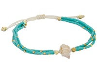 Chan Luu 6 1 3 Adjustable Seed Bead Single W Shell Charm Turquoise Bracelet Blue