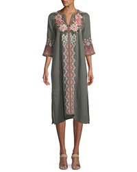 Johnny Was Parnaz Embroidered Caftan Dress Cement