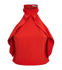 Alice Olivia Cabot Cold Shoulder Ruffle Crop Top Female Red