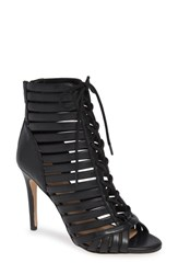 Bcbgmaxazria Bcbg Julie Lace Up Open Toe Bootie Black Suede
