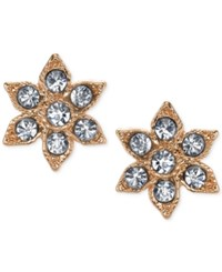 2028 Gold Tone Crystal Flower Stud Earrings Rose Gold