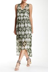 Kensie Hi Lo Printed Dress Green