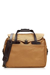 Filson Padded Twill Laptop Bag With Leather Camel