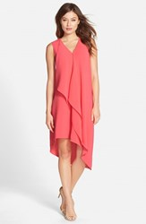 Adrianna Papell Women's Ruffle Front Crepe High Low Dress Grapefruit