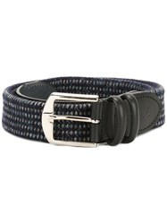 Canali Woven Buckled Belt Blue