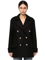 Balmain Double Breasted Wool Pea Coat Black