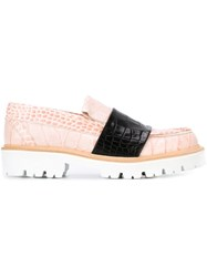 Msgm Snakeskin Black Stripe Loafers Pink And Purple
