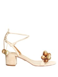 Aquazzura Disco Sequinned Pompom Suede Sandals Nude Gold