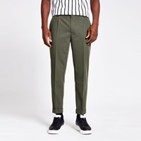 River Island Green Single Pleat Tapered Fit Trousers
