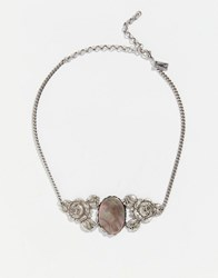 Regal Rose Rest In Peace Black Mother Of Pearl Rose Choker Silver