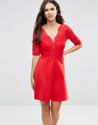 Asos Scuba Skirt Lace Top Mini Skater Dress Red