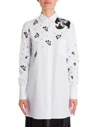 Valentino Embroidered Cotton Shirt Bianco