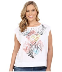 Roper Plus Size 0229 Hi Lo Boxy Tee White Women's Short Sleeve Pullover
