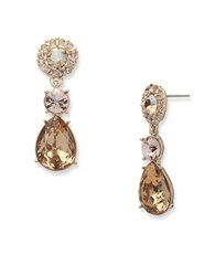 Givenchy White Metal And Glass Stone Drop Earrings Gold
