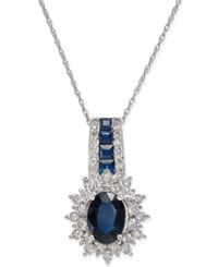 Macy's Sapphire 1 3 4 Ct. T.W. And Diamond 1 2 Ct. T.W. Pendant Necklace In 14K White Gold Blue