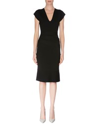 Roland Mouret Cap Sleeve Banded Waist Dress Black
