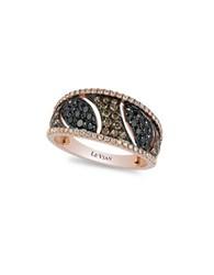 Levian Exotics 14K Strawberry Gold Vanilla Blackberry And Chocolate Diamond Ring 0.94 Tcw Rose Gold