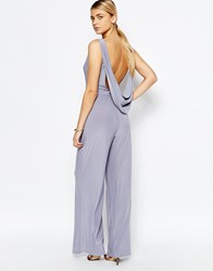 Love Cowl Back Wide Leg Jumpsuit Grey
