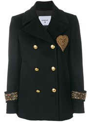 Dondup Double Breasted Military Jacket Acetate Viscose Cashmere Virgin Wool Black