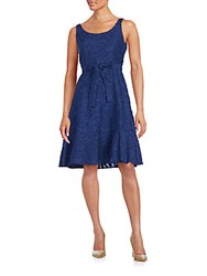 Karl Lagerfeld Floral Jacquard Fit And Flare Dress Indigo