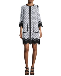 Andrew Gn Guipure Lace Zigzag Hem Topper Coat Black White