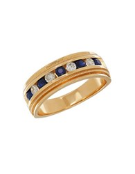 Lord And Taylor 0.34Tcw Diamond Sapphire 14K Yellow Gold Ring