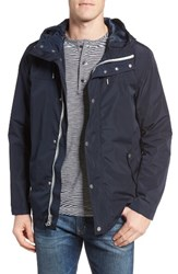 Cole Haan Men's Packable Hooded Rain Jacket Navy