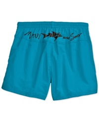 Maui And Sons Party Rocker 2 Volley Swim Trunks Neon Blue