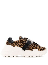 Paula Cademartori Leopard Lace Up Sneakers Neutrals