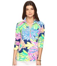 Lilly Pulitzer Skipper Popover Resort Navy Travelers Palm Women's Long Sleeve Pullover Green