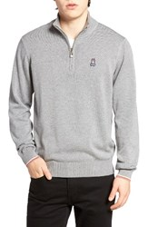 Psycho Bunny Men's Quarter Zip Sweater Grey