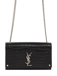 Saint Laurent Medium Kate Monogram Croc Embossed Bag