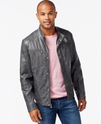 Kenneth Cole Faux Leather Moto Marble Jacket Coal