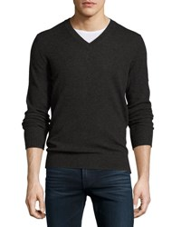 Neiman Marcus Cashmere V Neck Pullover Sweater Charcoal