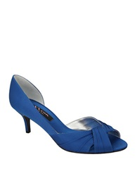 Nina Culver Satin Open Toe Pumps Blue