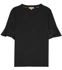 Burberry Lace Trimmed Cotton T Shirt Black