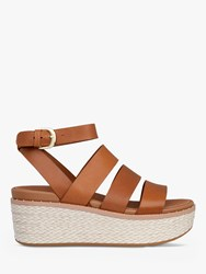 Fitflop Eloise Strappy Leather Wedge Sandals Natural