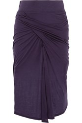 Helmut Lang Gathered Stretch Jersey Midi Skirt Purple