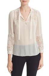 Rebecca Taylor Women's Lace Trim Silk Chiffon Blouse