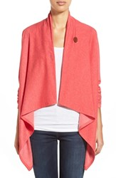 Bobeau One Button Fleece Wrap Cardigan Heather Red Mars