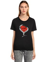 Saint Laurent Love 1971 Printed Cotton Jersey T Shirt Black
