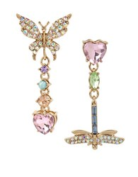 Betsey Johnson Buzz Off Pave Butterfly And Dragonfly Mismatch Drop Earrings No Color