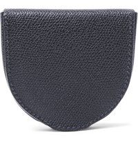 Valextra Pebble Grain Leather Coin Wallet Storm Blue